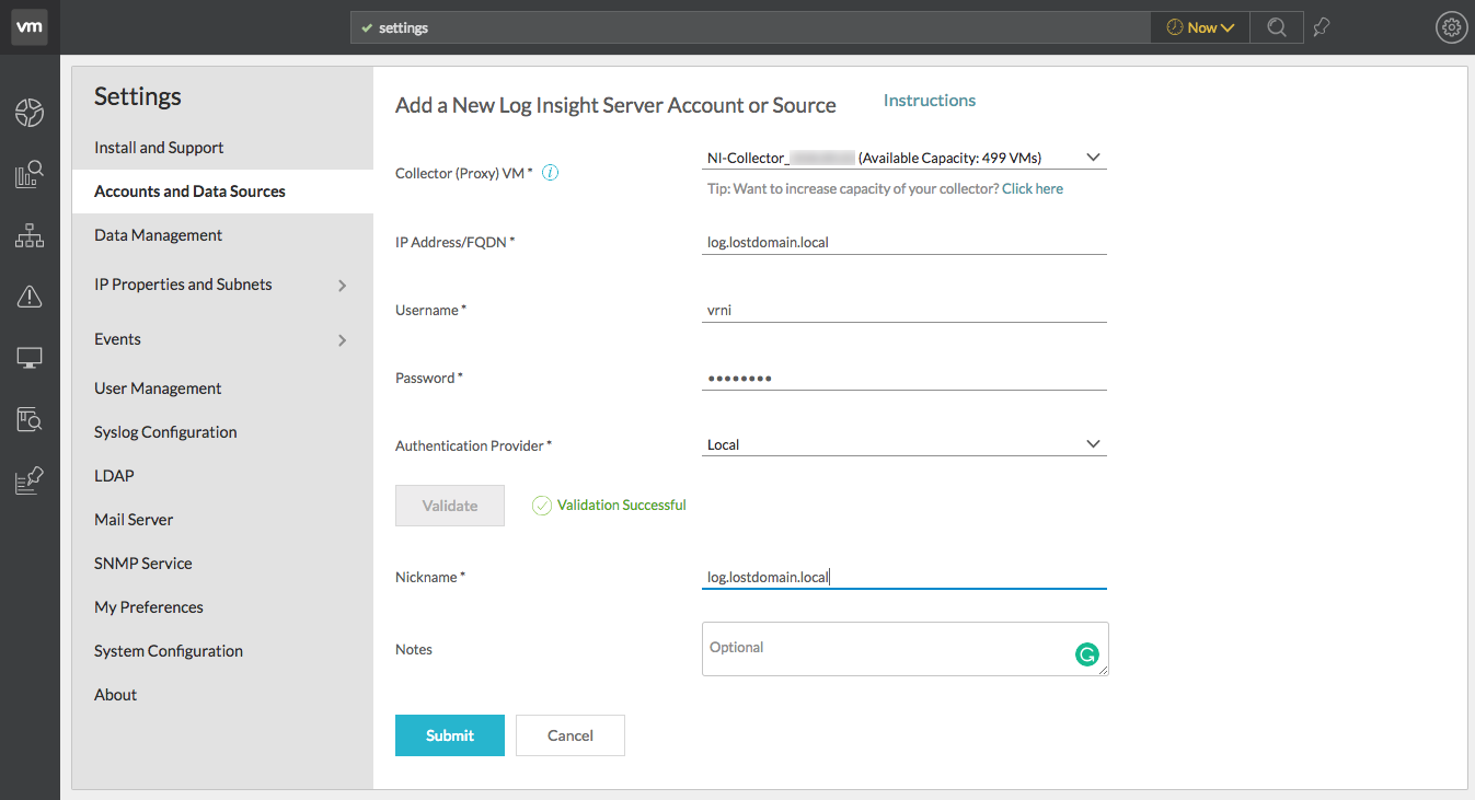 Integrating vRealize Network Insight and Log Insight