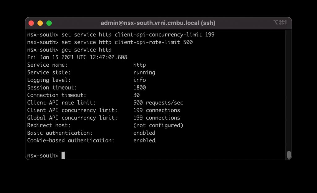 Setting NSX API limits