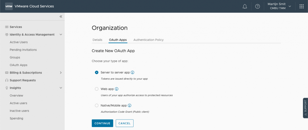 Create New OAuth App